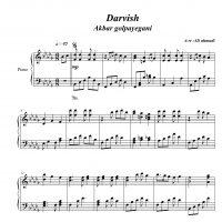 نت پیانوی آهنگ درویش از اکبر گلپایگانی